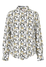 Schuz by Crowd Split Shirt - skjorte i silke med printet rosebox