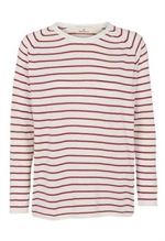Basic Apparel Soya sweater med striber i earth red