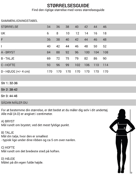 Størrelsesguide for Claire Woman