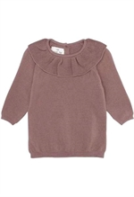 Konges Sløjd strikbluse i merinould, 17533 Fiol Collar wool knit Ruben rose