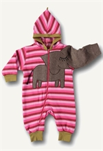 13. December: Ubang Babblechat elefantdragt i fleece, pink striber